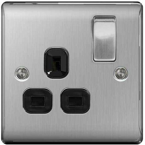 BG Nexus Metal Brushed Steel Double 1 Gang Plug Socket Black Insert 13A - NBS21B