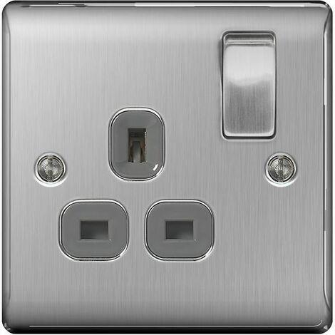 BG Nexus Metal Brushed Steel Double 1 Gang Plug Socket Grey insert 13A - NBS21G