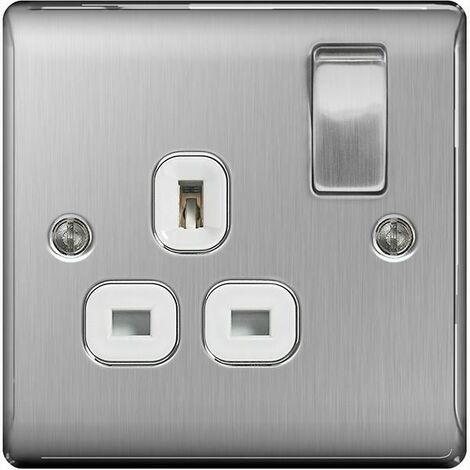 BG Nexus Metal Brushed Steel Double 1 Gang Plug Socket White Insert 13A - NBS21W