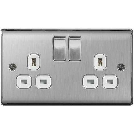 BG Nexus Metal Brushed Steel Double 2 Gang Plug Socket White Insert 13A - NBS22W