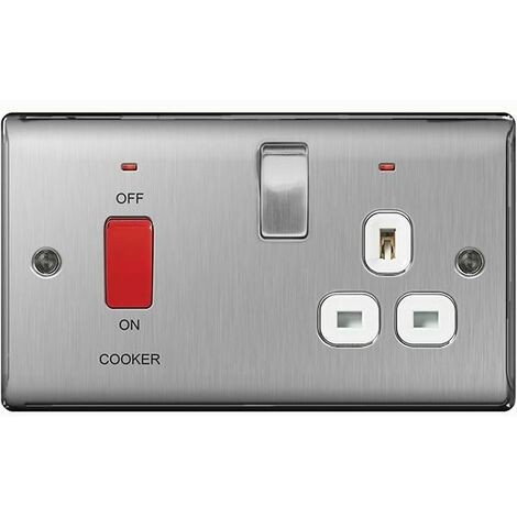 BG Nexus Metal Brushed Steel Double Cooker Switch / Socket White Insert - NBS70W