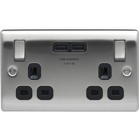 BG Nexus Metal Brushed Steel Single 2 Gang Plug Socket with 2 x USB Outlet Black Insert 13A - NBS22U3B