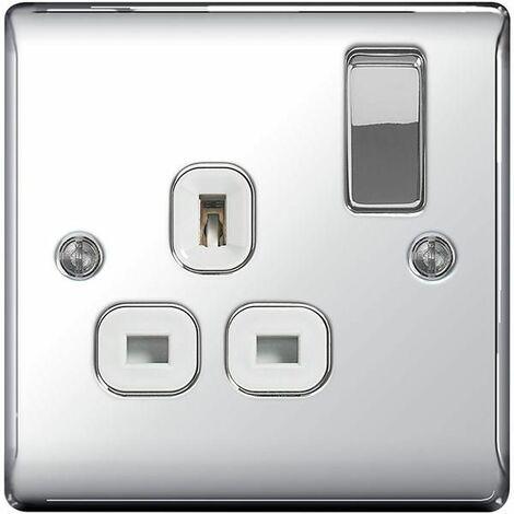 BG Nexus Metal Polished Chrome Double 1 Gang Plug Socket White Insert 13A - NPC21W
