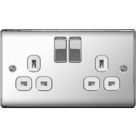 BG Nexus Metal Polished Chrome Double 2 Gang Plug Socket White Insert 13A - NPC22W
