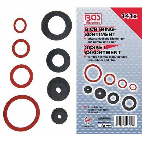 BGS technic Dichtring-Sortiment   Gummi und Fiberglas   141-tlg.