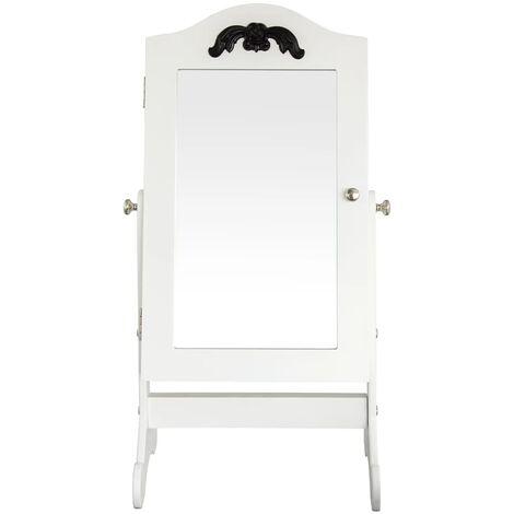 bhp Armario joyero con espejo de madera blanca B421819