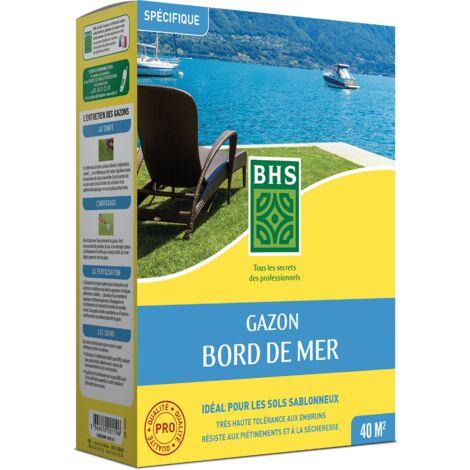BHS GBM1 | 1kg | 40 m² | Gazon Bord De Mer| Grande résistance au vent | à la sécheresse et aux conditions salines | Bon comportement estival | Esthétique et résistance générale
