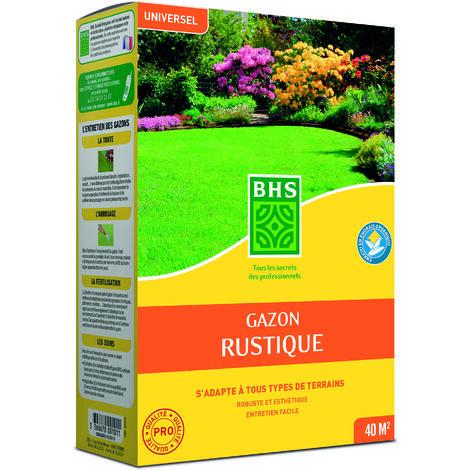 BHS GRU1 | 1kg | 40m² | Gazon Rustique plus résistant et mieux protégé | Rapide et Durable | Tous Types de Terrain et Climats