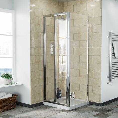 Bi-Fold Folding 700 mm Glass Door with Frameless 700 mm Side Panel