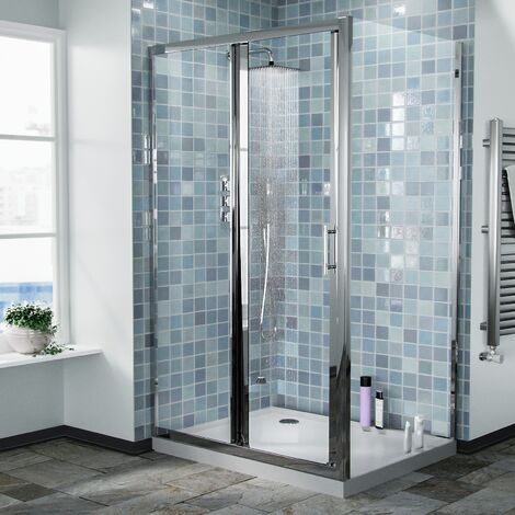 Bi-Fold Folding 700 mm Glass Door with Frameless 900 mm Side Panel