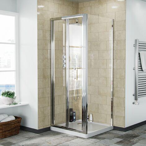 Bi-Fold Folding 760 mm Glass Door with Frameless 760 mm Side Panel