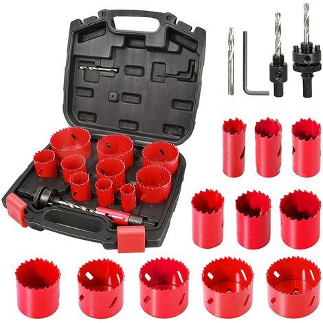 Bi-Metal Hole Saw, HYCHIKA 17 PCS Hole Saw Set with 11PCS 19mm-68mm Saw Blades, 2 Mandrels, 3 Drill Bits, 1 Hex Key, Cutting Depth: 40mm, Perfect for Drilling Metal, Wood, PVC Board and Plastic Plate