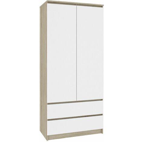 BIANCA   Armoire contemporaine chambre dressing   180x90x51cm   Meuble de rangement   Penderie multi-fonction 2 tiroirs   Sonoma/Blanc - Sonoma/Blanc