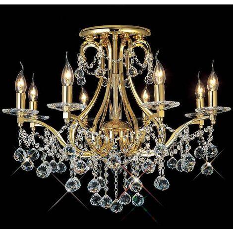 Bianco 8-light ceiling light gold / crystal