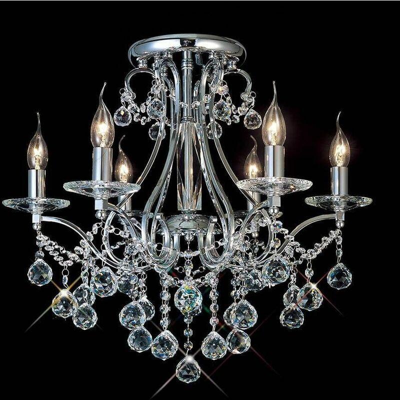 Image of Bianco ceiling light 6 Bulbs polished chrome / crystal