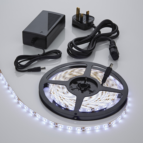 Biard 5m 12V 3528 LED Strip Light Kit & Power Supply with UK Plug - Cool White - IP65 Waterproof