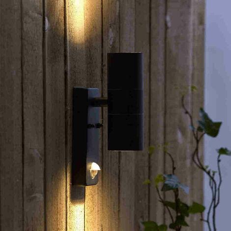 Biard Aplique Moderno GU10 en Color Negro - Sensor PIR, Bidireccional, IP44