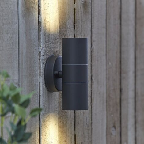 Biard Black Curved Outdoor Up Down Double Wall Light - IP54 Garden Porch Door