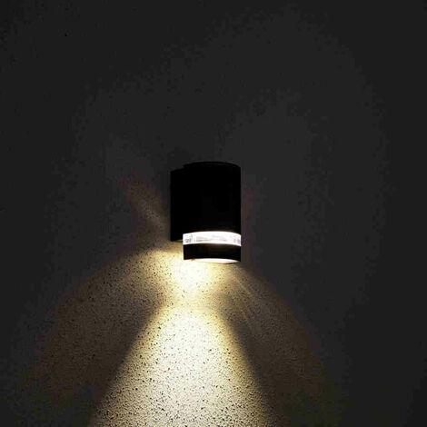 Biard Black Curved Outdoor Up or Down Wall Light - IP54 Garden Porch Front Door