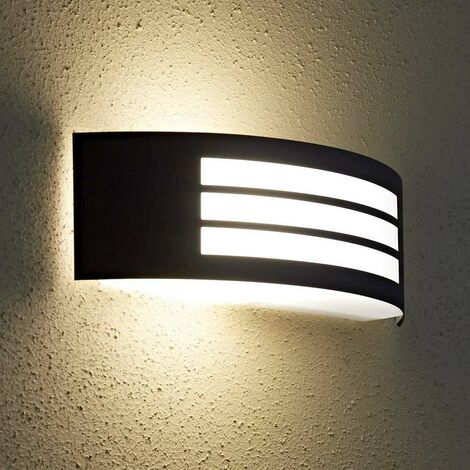 Biard Black Modern Curved Outdoor Wall Light - Outside Garden Patio Porch Door