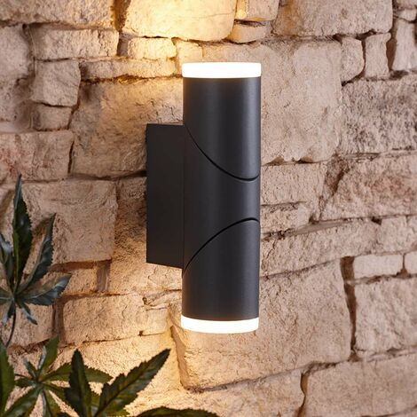 Biard Gettsdorf LED Round Up/Down Outdoor Double Garden Wall Light - Anthracite