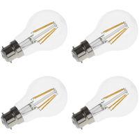 Biard Lampadina LED 4W B22 A Filamento Dimmerabile – Bianco Caldo 2700K – Pacco di 4