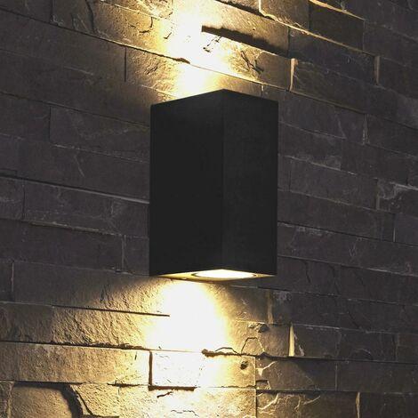 "main image of ""Biard Modern Matte Black Cube Outdoor Garden GU10 LED Up Down Wall Light IP44"""