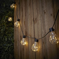Biard Moniaive LED Outdoor Festoon String Lights – 20 x 4.5W Warm White Mirco Filament LED Clear Bulb – 10.6m (35ft) IP44 for Garden, Indoor, Wedding, Party, Event