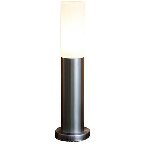 Biard Silver Stainless Steel Post Bollard Light Outdoor Garden Path Drive IP44