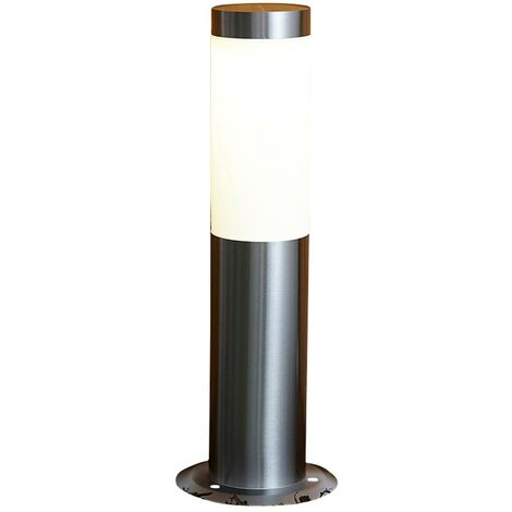 Biard Silver Stainless Steel Solar Powered LED Bollard Post Outdoor Garden Light