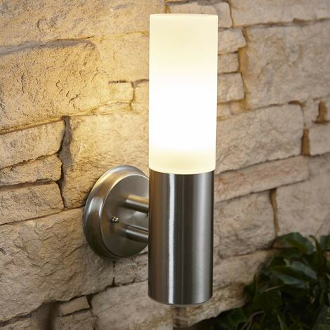 Biard Stainless Steel Glass Wall Light - IP44 Outdoor Garden Patio Porch Outside