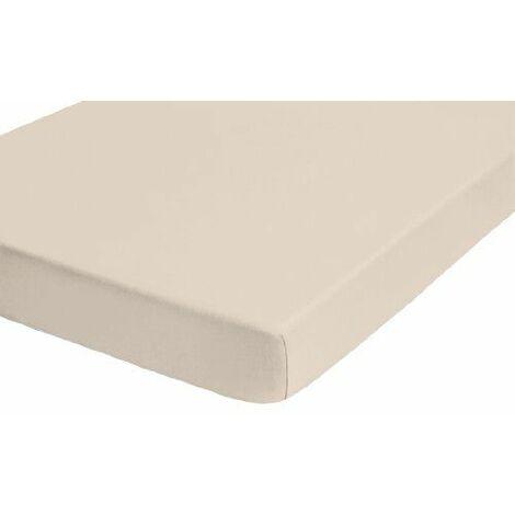 Biberna Drap housse en jersey stretch 100% coton, très doux et extensible, pour un lit de 180 x 200 cm à 200 x 200 cm, coloris beige mastic, 77155/547/087