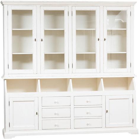 Biblioteca de estilo Country de madera maciza de tilo acabado con efecto blanco envejecido 230x50x226 cm