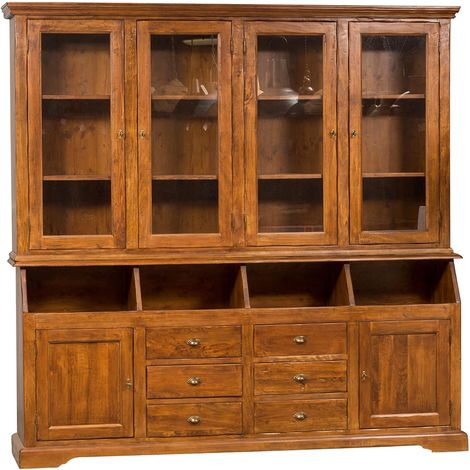 Biblioteca de estilo Country de madera maciza de tilo acabado con efecto nogal 230x50x226 cm