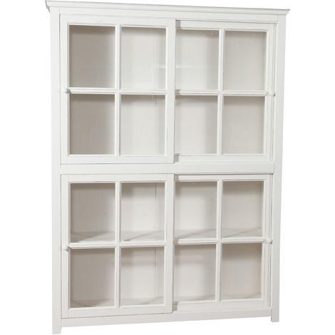 Biblioteca vitrina con puertas correderas en madera maciza de tilo , acabado con efecto blanco envejecido 154x37x212 cm