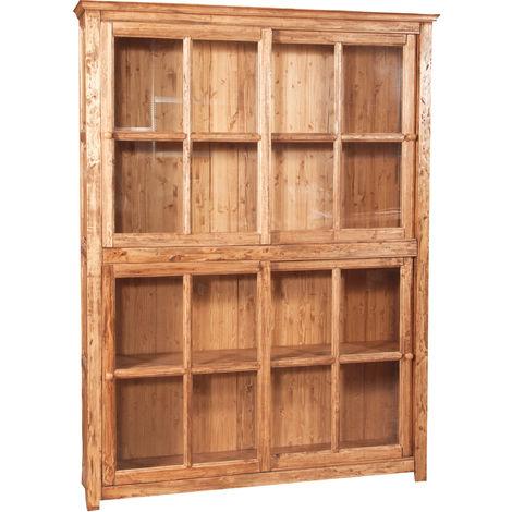 Biblioteca vitrina con puertas correderas en madera, sólido de tilo madera, acabado natural 154x37x212 cm