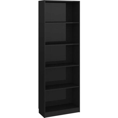 Bibliothèque à 5 niveaux Noir brillant 60x24x175 cm Aggloméré