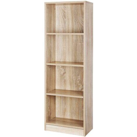 Bibliothèque armoire étagère 4 casiers bois - Bois