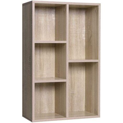Bibliothèque armoire étagère de rangement 5 casiers bois - Bois