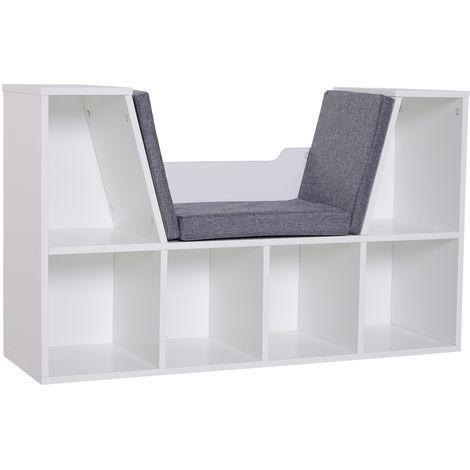 Bibliothèque banc 2 en 1 design contemporain 6 casiers 3 coussins fournis 102L x 30l x 61H cm blanc gris chiné