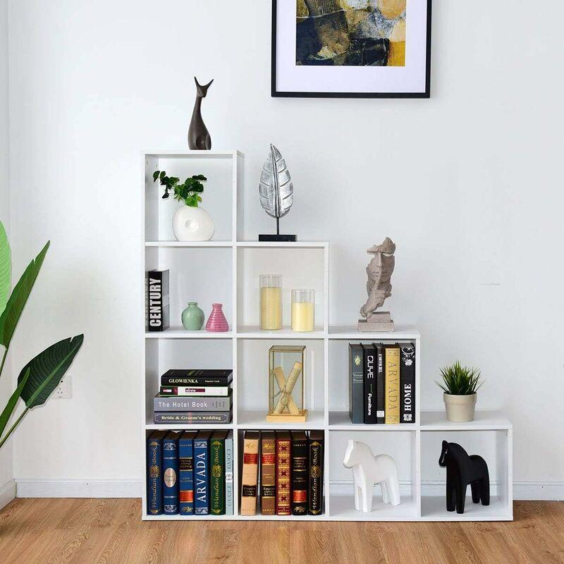 Bibliotheque Blanc Etagere Escalier Meuble Escalier 10 Compartiments