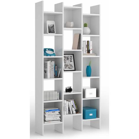 Bibliothèque blanche avec 15 compartiments - Dim : H 192 x L 96 x P 29 cm