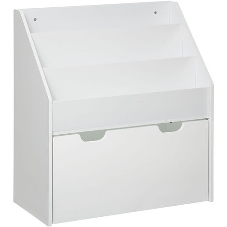 Bibliothèque blanche avec bac de rangement à roulettes - Blanc