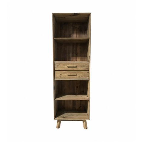 Bibliothèque chiffonnier 190 cm 4 niches 2 tiroirs pieds obliques bois pin recyclé - CHALET - Bois