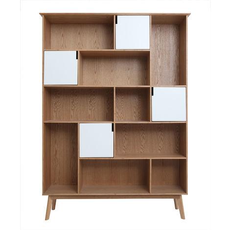 biblioth que design avec portes blanc et ch ne ingrid 44759. Black Bedroom Furniture Sets. Home Design Ideas