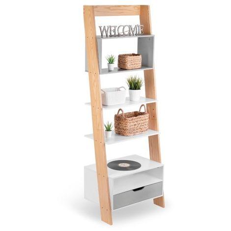 biblioth que chelle murale avec tiroir tag re meuble. Black Bedroom Furniture Sets. Home Design Ideas