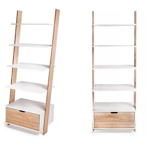 Bibliothèque-Échelle Murale avec tiroir / Étagère Meuble Rangement | 5 Niveaux | 65x180 | Style Scandinave | Finition Laminée | Blanc - Blanc