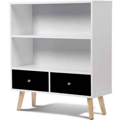 biblioth que effie scandinave bois blanc et noir 13201. Black Bedroom Furniture Sets. Home Design Ideas