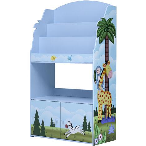 Bibliothèque enfant avec placard de rangement en bois bleu Fantasy Fields TD-13394SS