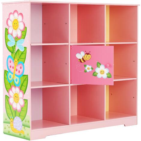 Bibliothèque enfant étagère de rangement petit placard central avec hauteur ajustable Fantasy Fields TD-13210B